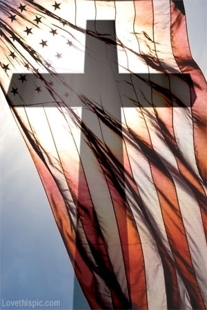 American Flag with Cross silhouette
